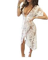 Размер 48 (L)! Кружевная летняя белая женская молодежная пляжная накидка-халат,  красивая пляжная туника-парео