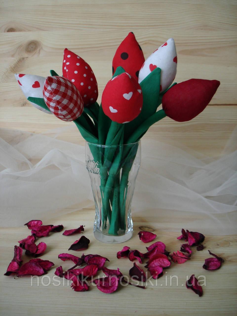 Інтер'єрні тюльпани ручної роботи з натуральних тканин, ціна за штуку
