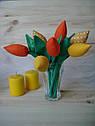 Інтер'єрні тюльпани ручної роботи з натуральних тканин, ціна за штуку, фото 2