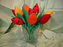 Інтер'єрні тюльпани ручної роботи з натуральних тканин, ціна за штуку, фото 4