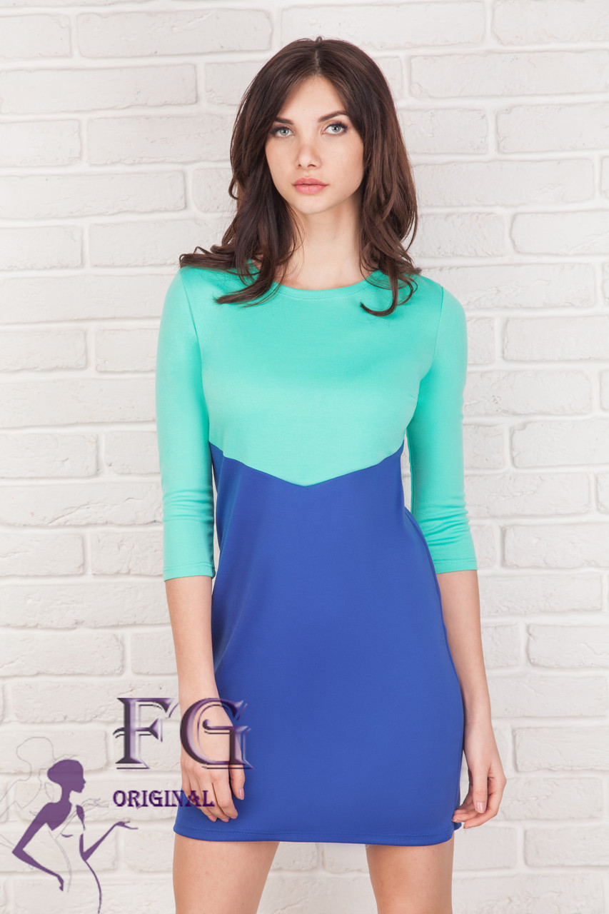 "Двоколірна сукня ""Лаура""| Електрик +м'ятний"