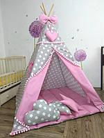"""Вигвам розовый для девочки, с мягким ковриком подушечками """"Звездочки-пряники с розовым"""""""""""