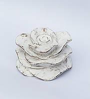 Декоративная резная роза 13х10 см, белая