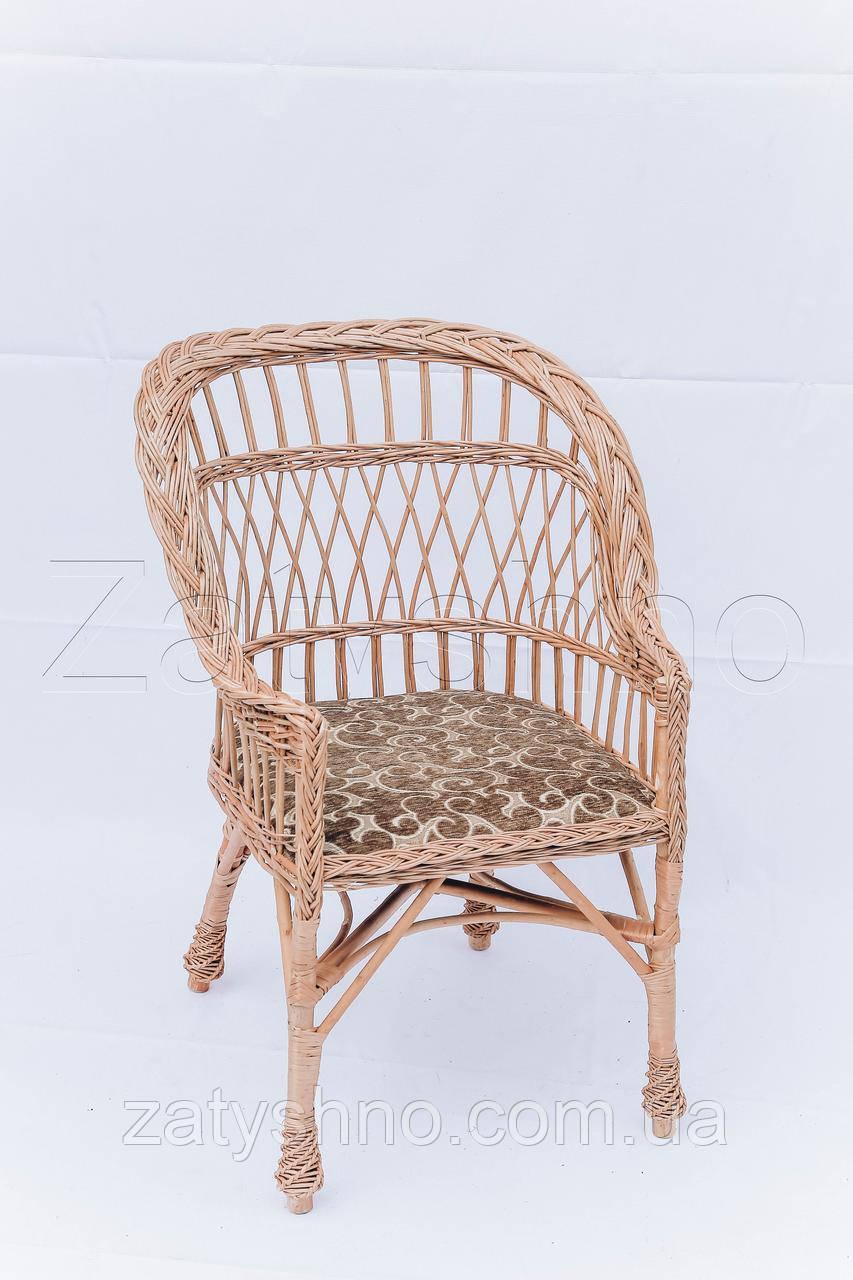 Кресло плетеное с мягкой сидушкой детское | кресло плетеное для дачи | кресло с мягкой сидушкой
