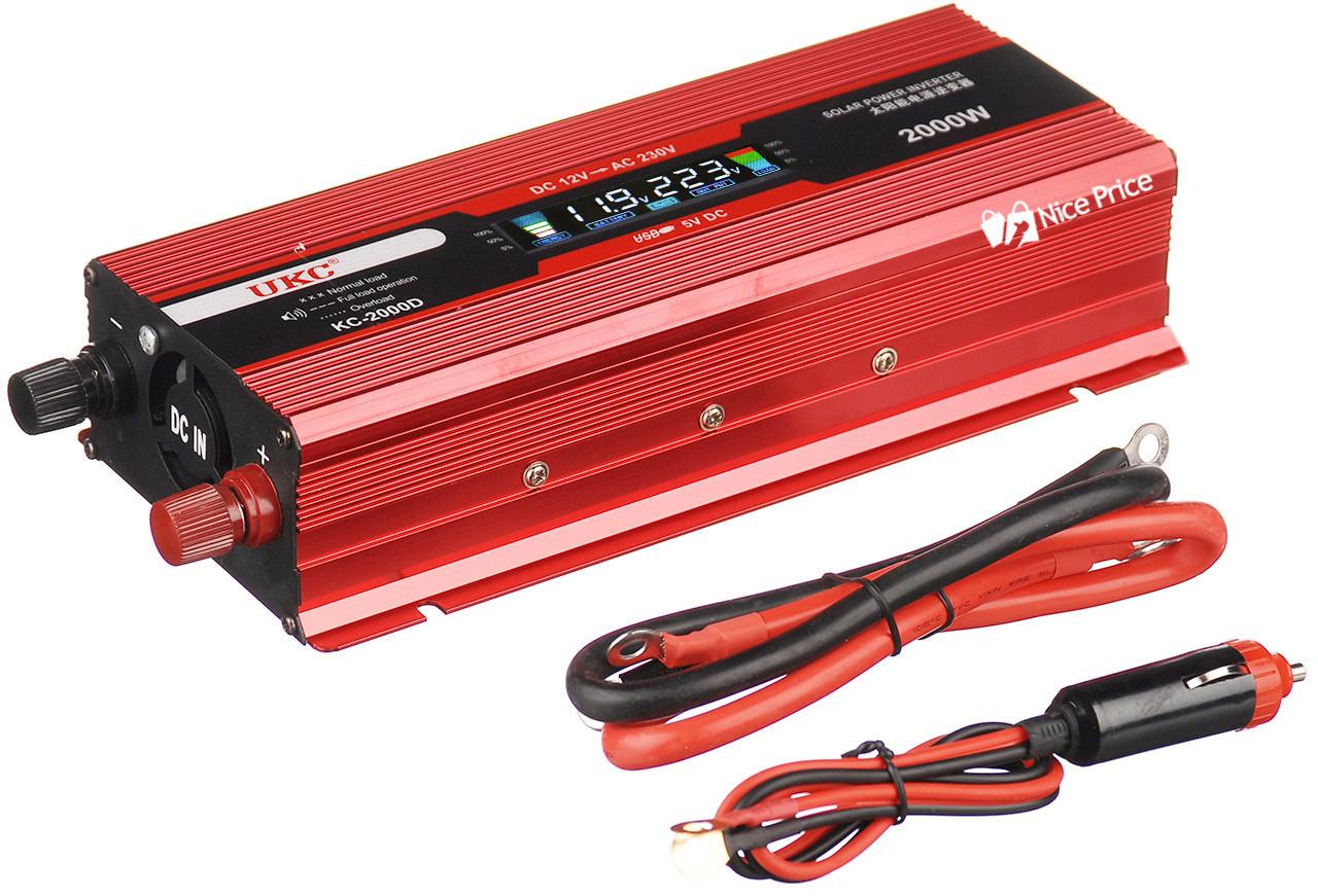 Преобразователь UKC авто инвертор 12V-220V 2000W LCD KC-2000D + USB