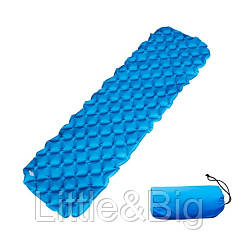 Туристический коврик, матрас надувной, синий (EW083)