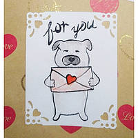 Поздравительная открытка ручная роспись. Валентинка на день Влюбленных.