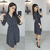 """Платье женское полубатальное в горошек, размер 50-52 """"LINDA"""" купить недорого от прямого поставщика"""