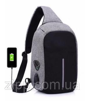 Однолямочный рюкзак, бананка антивор Bobby mini + USB порт и выход для наушников.