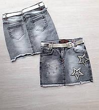 Юбка джинсовая подростковая модная с пайетками на девочку 9-12 лет купить оптом со склада 7км Одесса