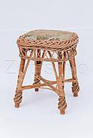 Табурет плетеный квадратный с мягким сиденьем | табурет плетеный для дачи | плетеные обеденные табуреты