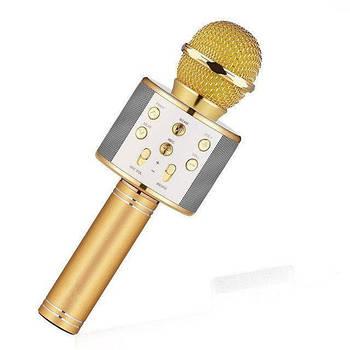 Микрофон караоке беспроводной bluetooth Спартак WS858 Karaoke Gold
