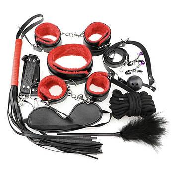 BDSM набор из 10 предметов для садо-мазо игр Черный с красным