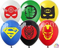 """Воздушные латексные шарики Супергерои Марвел 12"""" (30 см), 100 штук"""