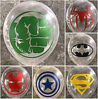 """Воздушные латексные шарики Супергерои Марвел прозрачные 12"""" (30 см), 100 штук"""