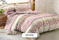 Постельный комплект двухспальный 175х215 хлопок Дачница цветы розовое
