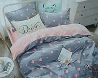 Постельный комплект двухспальный 175х215 хлопок Клубника розовый синий серый голубой ягоды