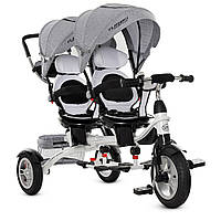 ⏩ Детский трехколёсный велосипед для двойни Turbo trike Duos M 3116TWA-19, серый