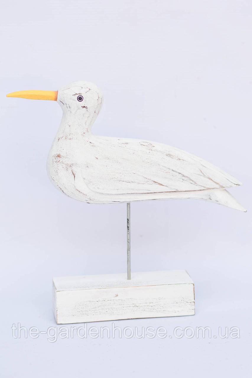 Птичка белая на подставке, 30 см