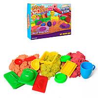 Песок для творчества LS-08 (20шт)300г, 3цвета, формочки-посуда/продукты10шт, в кор-ке, 24,5-17,5-5см