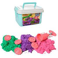Песок для творчества LS-21 (16шт) 450г,3цв,формочки-сладости5шт, инструм, в чемодане,20,5-12,5-14см