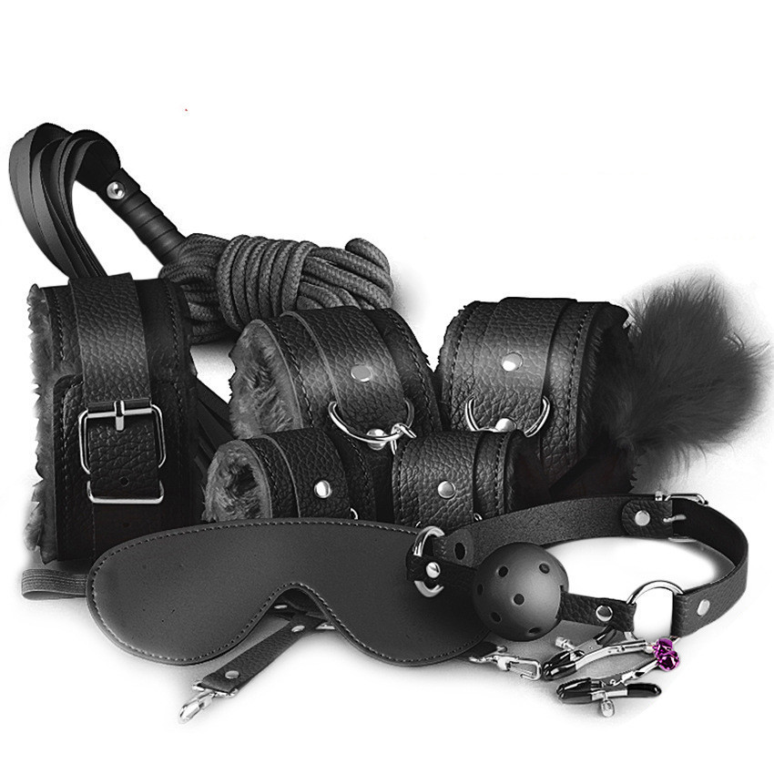 Эротический набор БДСМ аксессуаров для садо-мазо 10 предметов Черный