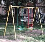 Гойдалка подвійна на жорстких підвісах для дитячих ігрових майданчиків KidSport, фото 3