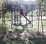Гойдалка подвійна на жорстких підвісах для дитячих ігрових майданчиків KidSport, фото 4