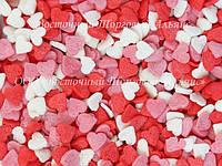 Посыпки кондитерские — Сердца красные-белые-розовые мини