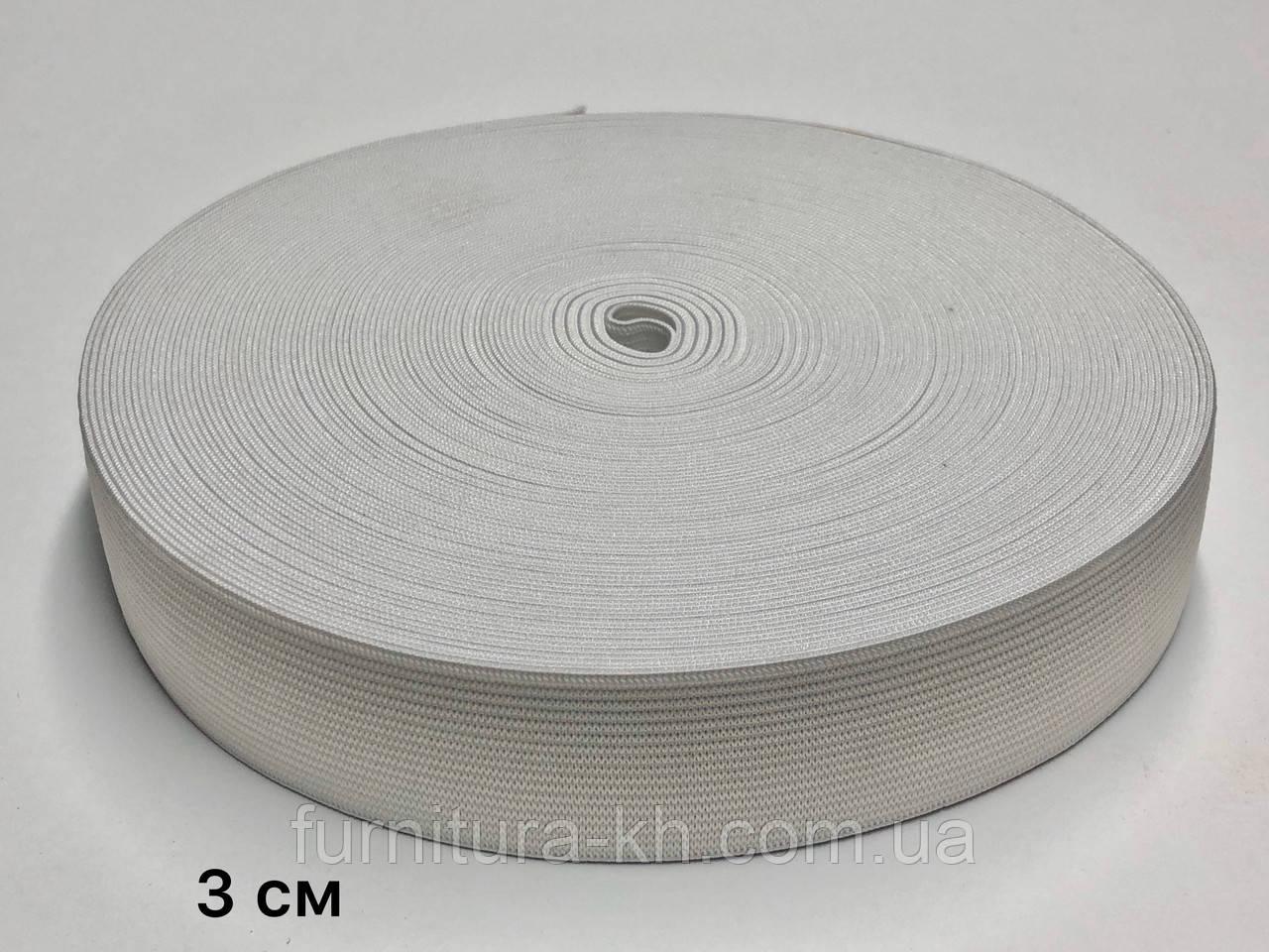 Резинка 3 см Белая в рулоне 25 метров