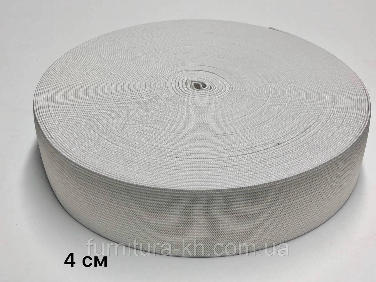 Резинка 4 см Белая в рулоне 25 метров
