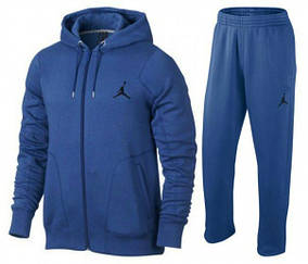 Спортивный костюм Джордан, мужской костюм джордан, синий, кенгуру на молнии, трикотажный