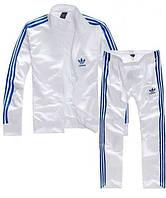 Спортивный костюм Адидас, мужской костюм Adidas, белый костюми лампасами, трикотажный