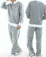 Спортивный костюм Адидас, мужской костюм Adidas, серый костюм, с лампасами, трикотажный