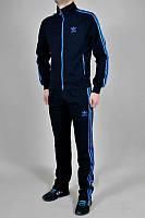 Спортивный костюм Адидас, мужской костюм Adidas, темно-синий костюм, с голубыми лампасами, трикотажный