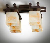 Люстра 4-х ламповая металлическая, с деревом, зал, спальня, кухня, прихожая