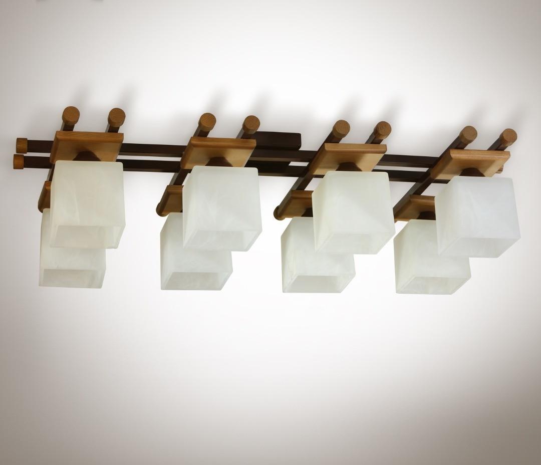 Люстра 8 ламповая металлическая, с деревом, зал, спальня, кухня, прихожая 19788-1