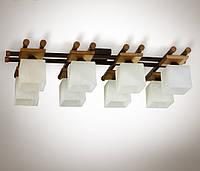 Люстра 8 ламповая металлическая, с деревом, зал, спальня, кухня, прихожая