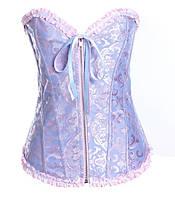 Корсет парчовый жаккардовый голубой и с розовым