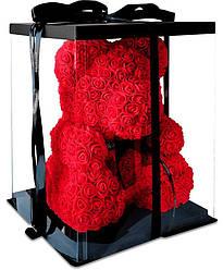 Маленький мишка из искусственных 3D роз Teddy Bear de Luxe 25 см Red, красный медведь Тедди
