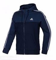 Мужская толстовка Адидас, спортивная кофта Adidas, темно-синяя, трикотажная, с капюшеном, кенгуру