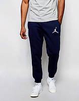 Спортивные штаны Джордан, штаны мужские Jordan, темно синие, трикотажные, с манжетом
