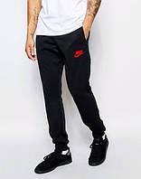 Спортивные штаны Найк, штаны мужские Nike, черные, найк внизу манжет, трикотажные, с манжетом
