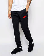 Спортивные штаны Найк, штаны мужские птичка Nike, черные, красный логотип, трикотажные, с манжетом