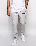Спортивные штаны Пума, штаны мужские Puma, светло серые, меланж, трикотажные, с манжетом