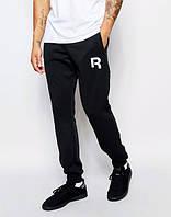 Спортивные штаны Рибок, штаны мужские Reebok, черные, повседневные, базовые, трикотажные, с манжетом