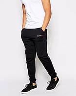 Спортивные штаны Рибок, штаны мужские Reebok, черные, трикотажные, с манжетом