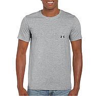 Мужская футболка Under Armour, спортивная футболка Андер Армор, хлопок, серая