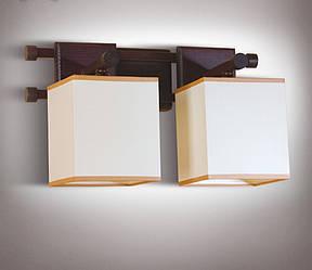 Бра 2-х ламповое металлическое, с деревом и абажуром 14902-1