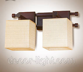Бра 2-х ламповое металлическое, с деревом и абажуром  14902-3